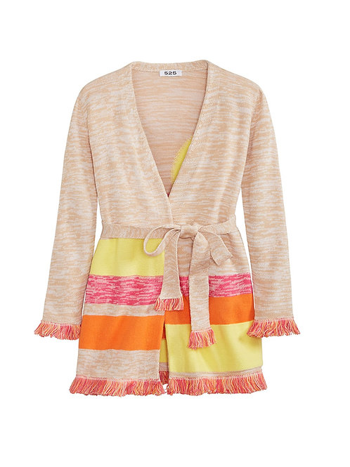 FRINGED SLEEVE CARDIGAN