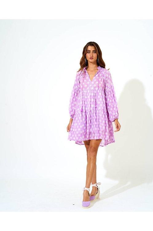 BALLOON SLEEVE SHORT DRESS- VIRGO LILAC