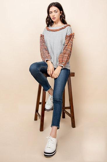 Tweed Sleeve Top