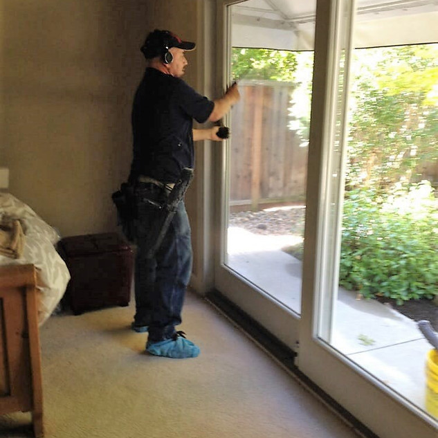 Interior window cleaning on a residentia