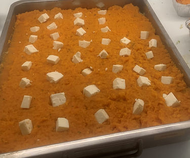 Ovenschotel met spitskool en zoete aardappel