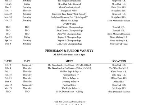 2021 Track & Field Schedule