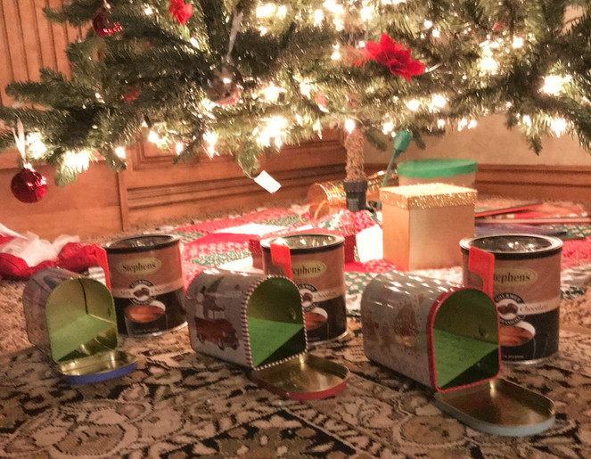 The kids' Christmas mailboxes for the daily surprise throughout December