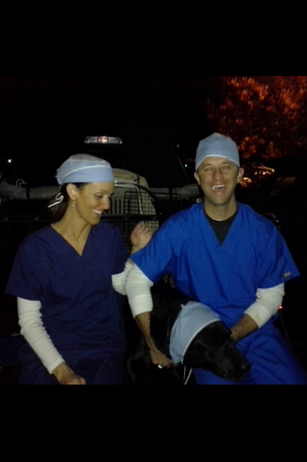 Having fun at Halloween--Yes, Rachel is a nurse...No, Ryan is not a doctor!