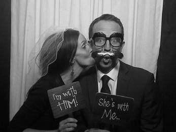 Goofing around at a wedding reception