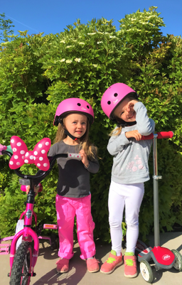 The girls getting ready for a ride around the park