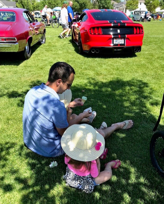 Taking an ice cream break at our local car show