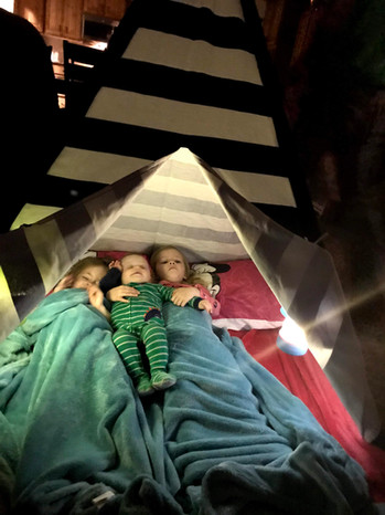 Sleeping in the teepee for our weekly Friday night movie