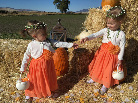 Flower girls at a country wedding