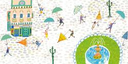 傘 広場 噴水 女の子 イラスト
