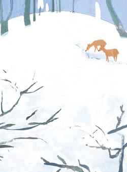 2月 雪の中の鹿