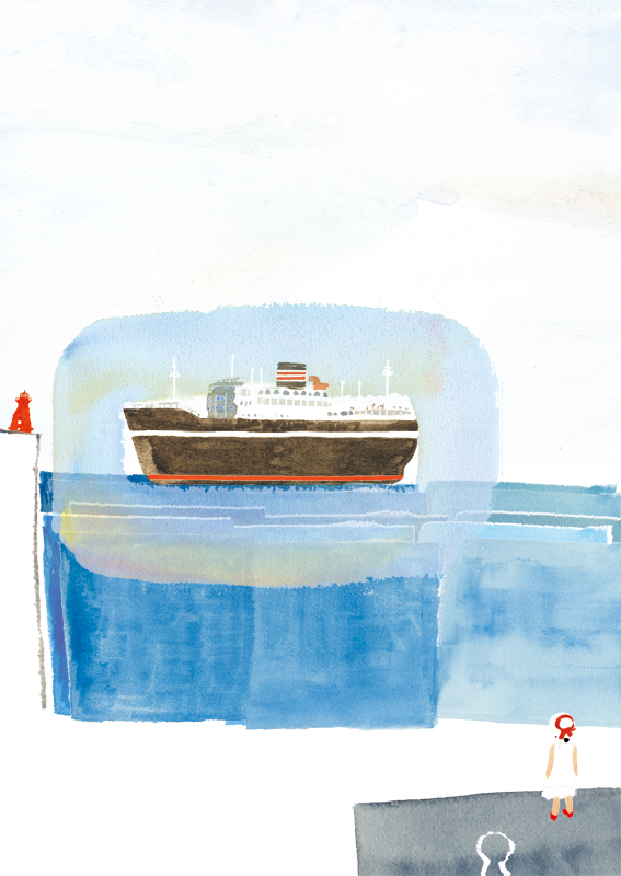 船 港 赤い靴 女の子 イラスト