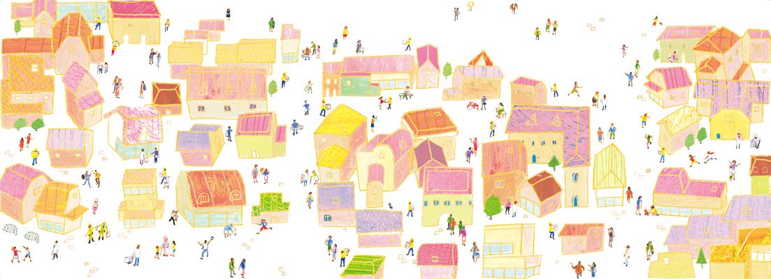 街 町 地域 暮らし 人々 イラスト