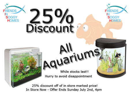 25% Discount On ALL Aquariums