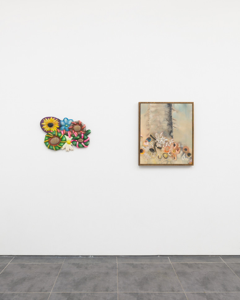 (left to right) James Jessiman: Everything Trying to Live Forever 58 x 39 x 5 cm, Paint on wood and linen, 2021  Diane Chappalley: Saint.e Sébastien.ne, the Lilies & the Snake  70 x 60 cm, Oil on flax, 2020