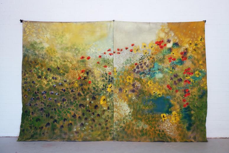 Vitalistic Fantasies, Oil on flax, 220 x 360 cm, 2019