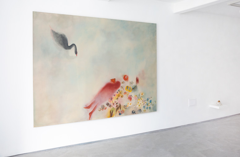 The Auguries, Installation view, Informality Gallery Diane Chappalley: I cannot carry this body with me, it is too heavy, 170 x 220 cm, Oil on flax, 2021 Diane Chappalley: Stone Flower, Glazed ceramic, 15 x 14 x 12 cm, 2021