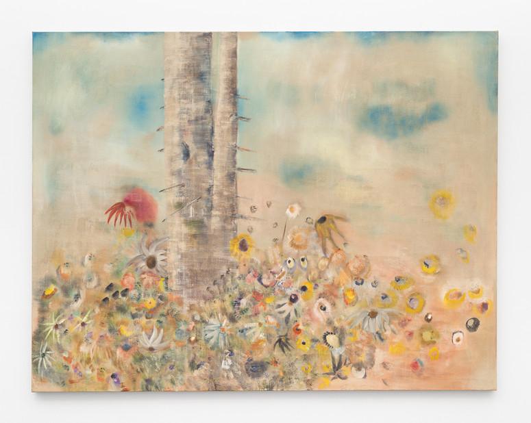 Diane Chappalley Saint.e Sébastien.ne & the Medicinal Flowers 170 x 220 cm, Oil on flax, 2020