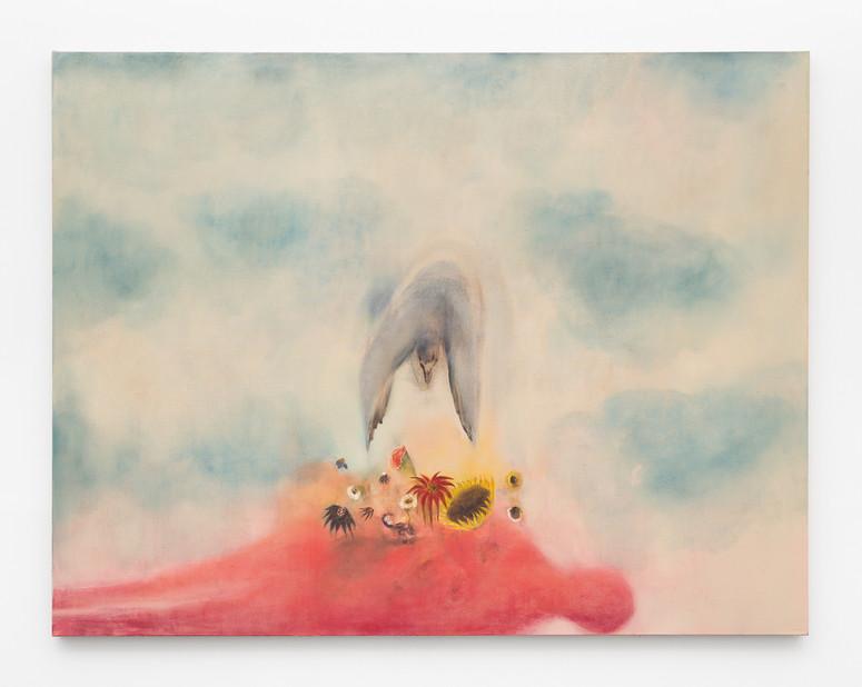 Ou peut-être une nuit, 170 x 220 cm, Oil on flax, 2021
