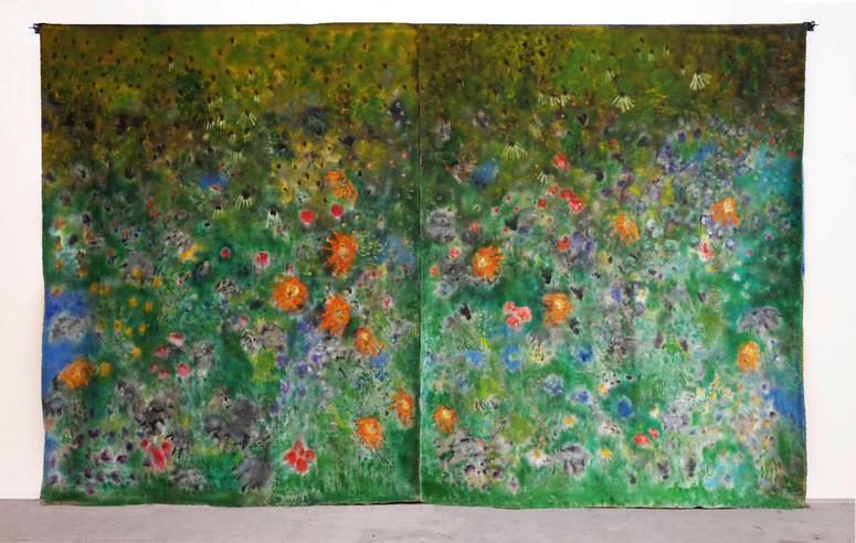 Vitalistic Fantasies IV, Oil on flax, 223 x 380 cm, 2019