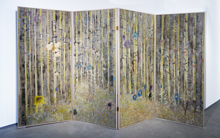 Behind Closed Doors, Oil on flax, maple wood artist made frame, 200 x 320 cm, 2020