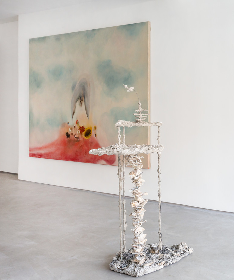 The Auguries, Installation view, Informality Gallery Diane Chappalley: Ou peut-être une nuit, 170 x 220 cm, Oil on flax, 2021 Anna Reading: Feeding Frenzy (part 3), Concrete, shells, sand, bitumen, wire, chip forks, gloves, board, metal 128 x 70 x 45 cm, 2020