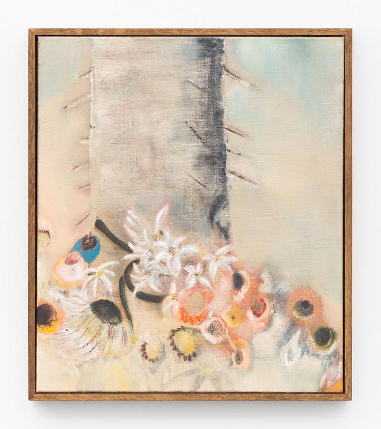 Diane Chappalley Saint.e Sébastien.ne, the Lilies & the Snake  70 x 60 cm, Oil on flax, 2020
