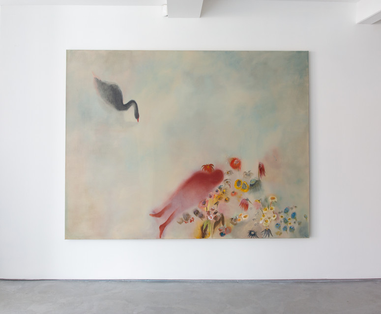 The Auguries, Installation view, Informality Gallery Diane Chappalley: I cannot carry this body with me, it is too heavy, 170 x 220 cm,