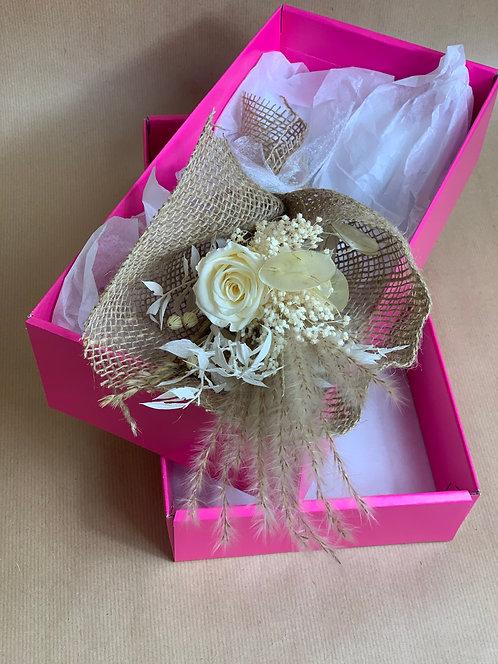 Preserved White Rose Mini Giftbox Bouquet