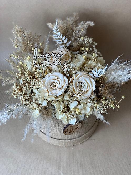 Champagne Preserved Hydrangea Rose Flower Hat Box