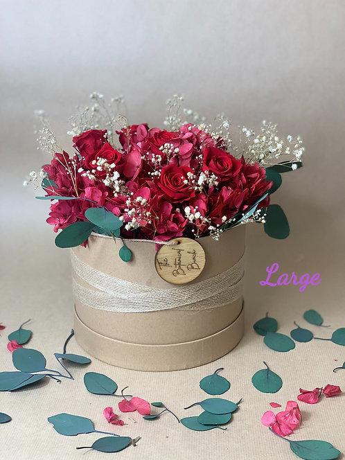 Red Preserved Hydrangea Rose Box