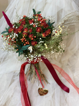 Red and Green Bridal Bouquet