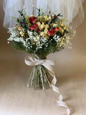 Red and Cream Bridal Bouquet