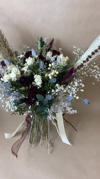 Red, white and green bridal bouquet