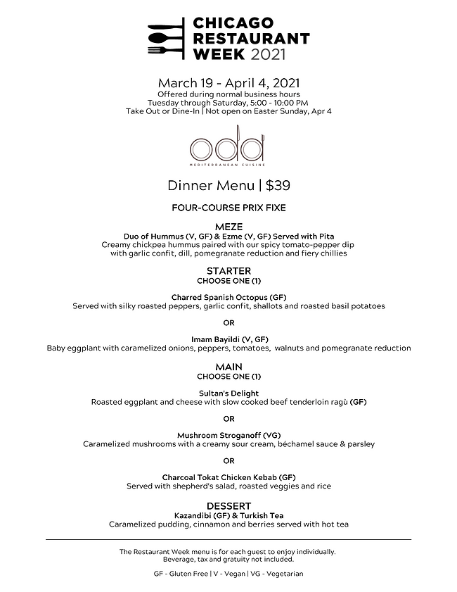 Chicago Restaurant Week _ Dinner Menu _