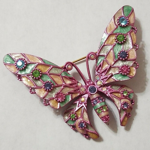 Joan Rivers Pastel Fantasy Butterfly Pin Brooch Enamel Rhinestone signed NEW