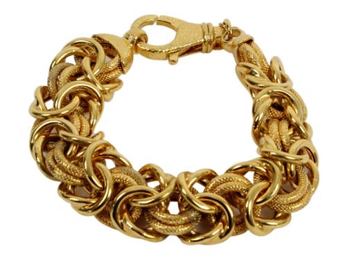 "Vintage Bronzallure B Italy Goldtone Hammered Bracelet 9"""