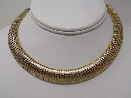 Vintage Sarah Coventry Signed Flexible Ribbed Omega Gold Tone Choker Necklace