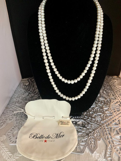 "Belle de Mer Pearl Necklace 52""  Fresh Water Pearl Endless Strand"