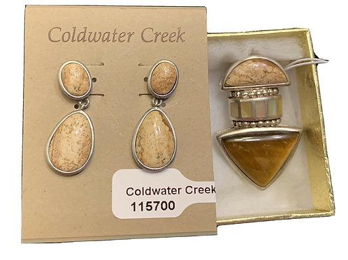 Whitney Kelly 925 Silver Pendant w/Genuine Gemstones +Earrings