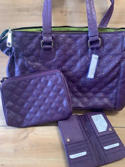 Plum Color Tote/Computer Bag w/Wallet & Makeup Bag