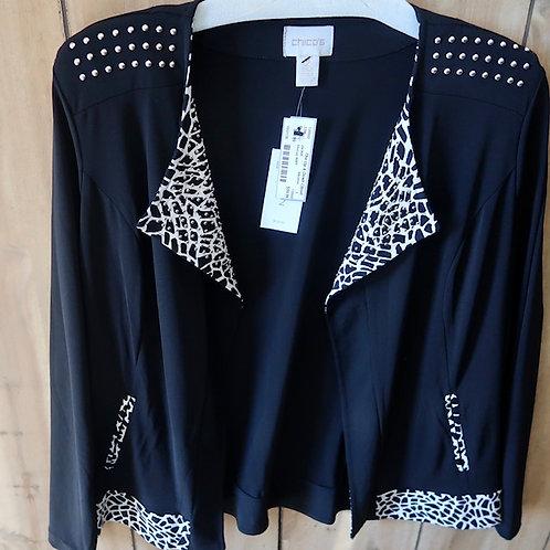 Chico's Moto Jacket Animal Print, Knit Trim Sz 2 (sz 12) NEW