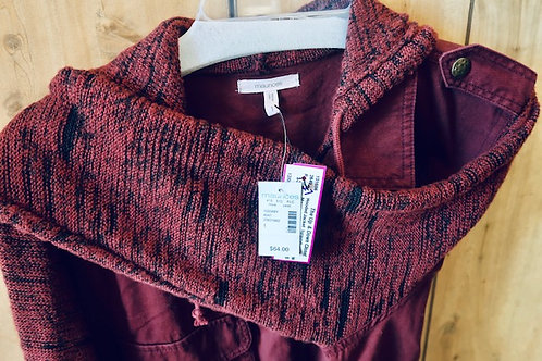 Maurice 1X Wine Color Jacket w/Knit Sleeves NEW