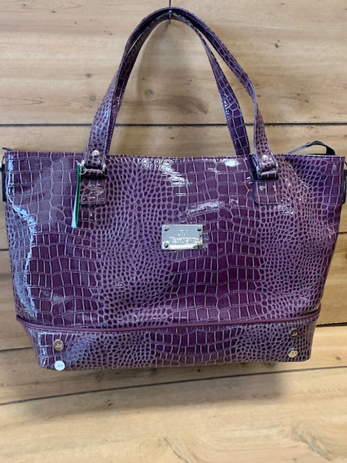 JM New York Plum Color Crocodile Laptop Tote Bag