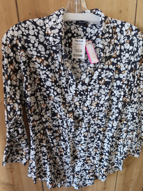 Navy/White Print Blouse, Size 1X Velvet Heart Brand NEW