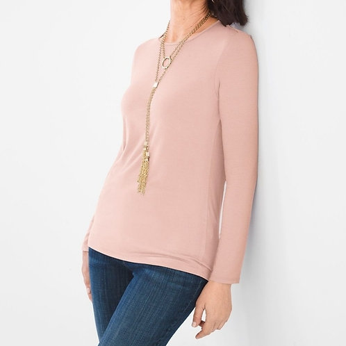 CHICO's Sz 2 NWT Long Sleeve Scoop Neck Knit Top Paris Pink
