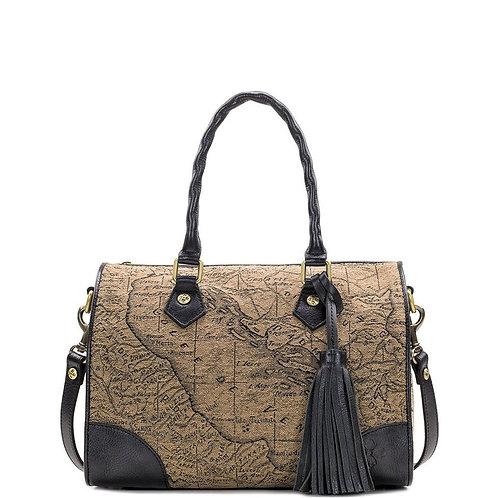 Patricia Nash Women's Boretto Satchel Handbag Map Jacquard Tan/Black NEW