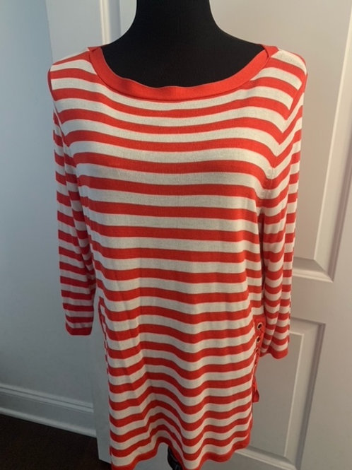 CHICO's Sz 3 NWT Grommet Detail Striped Pullover Sweater