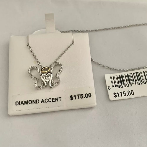 Angel Butterfly Necklace 925 Silver w/Diamond Accents NEW
