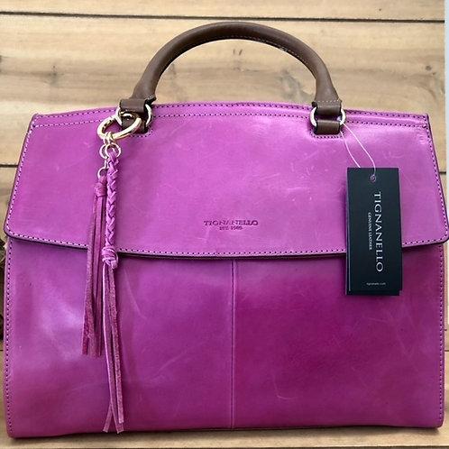 TIGNANELLO Carson Shopper Sangria/Cognac Bag NEW
